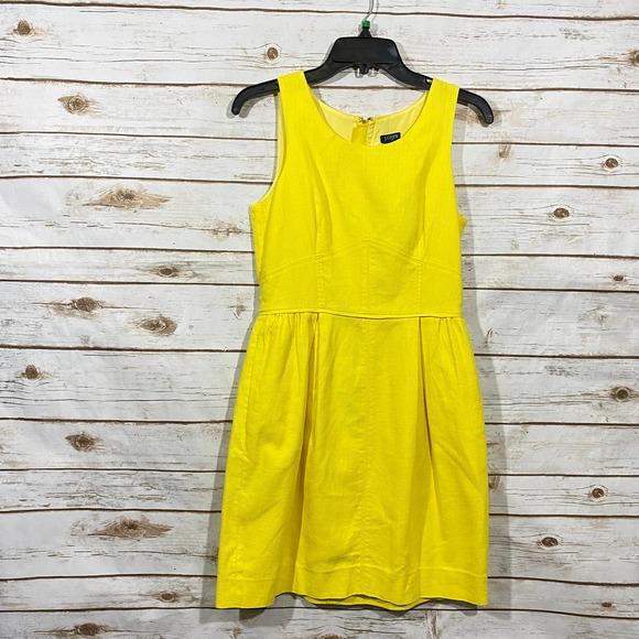 J.CREW Women's Yellow Round Neck Sleeveless Dress